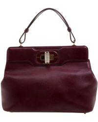 BVLGARI - Burgundy Leather Handbag - Lyst