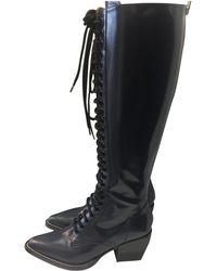Lyst - Material Mix Long Rain Boot 8663ed2f81f