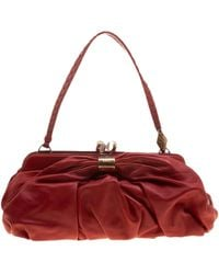 Lyst - Dior Pre-owned Saddle Red Leather Handbags in Red 64f7ea346edb8