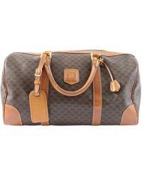 Céline - Vintage Brown Cloth Handbag - Lyst