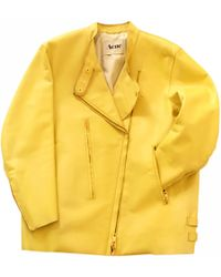 Acne Studios - Yellow Leather Jacket - Lyst