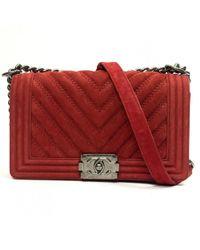 Chanel - Pre-owned Boy Burgundy Suede Handbags - Lyst