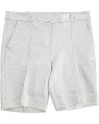 Diane von Furstenberg - Silver Cotton Shorts - Lyst