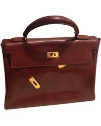 Hermès - Vintage Kelly 28 Burgundy Leather Handbag - Lyst