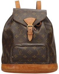 Louis Vuitton - Pre-owned Vintage Montsouris Brown Cloth Backpacks - Lyst