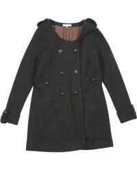 Sandro - Black Wool Coat - Lyst