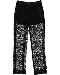 Givenchy - Pre-owned Black Cotton Trousers - Lyst