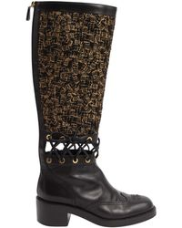 Chanel - Pre-owned Black Leather Boots - Lyst