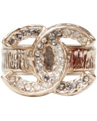 Chanel - Cc Gold Metal Ring - Lyst