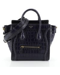 Céline Sac à main Nano Luggage en Crocodile Bleu