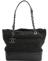 26bad914f3a79a Lyst - Chanel Pre-owned Gabrielle Leather Mini Bag in Black
