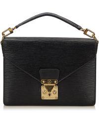 Louis Vuitton - Pre-owned Monceau Black Leather Handbags - Lyst