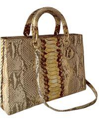 6ef4c667fb65 Hot Dior - Lady Beige Python Handbag - Lyst