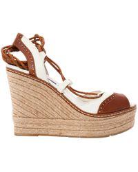 Ralph Lauren Collection - Camel Leather Sandals - Lyst
