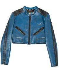 b161fe1eb615 Louis Vuitton Pre-owned Leather Biker Jacket in Green - Lyst