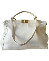 609db7bd11 Fendi - Peekaboo White Leather Handbag - Lyst