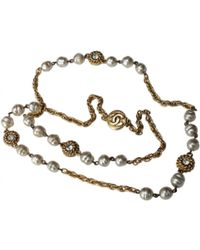 Chanel - Vintage Gold Metal Long Necklace - Lyst