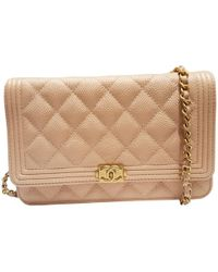 Chanel - Pre-owned Wallet On Chain Leather Crossbody Bag - Lyst