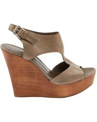 Gianvito Rossi - Grey Leather Sandals - Lyst