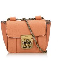1aa3f07f526 Chloé Elsie Medium Leather Chain Shoulder Bag in Pink - Lyst