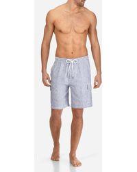 Vilebrequin - Men Cargo Linen Bermuda Shorts Micro Stripes - Lyst