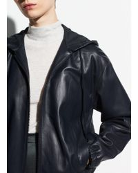 Vince - Washed Leather Zip Hoodie - Lyst