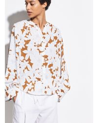 Vince Tropical Blooms Shirred Back Blouse - White