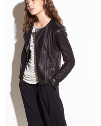 Vince - Cross Front Washed-leather Jacket - Lyst