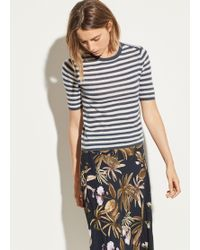 Vince - Striped Cashmere Elbow Sleeve Pullover - Lyst