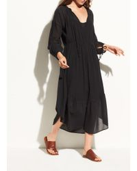 Vince - Shirred Seamed Cotton Dress - Lyst