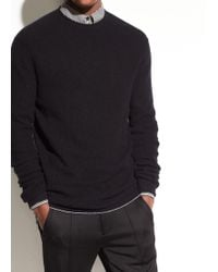 Vince | Waffle-knit Cashmere Crew | Lyst