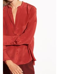 Vince Band Collar Silk Blouse - Red