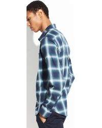 Vince - Ombre Shadow Plaid Long Sleeve - Lyst