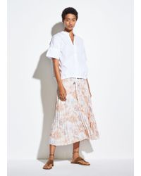 Vince Marine Garden Pleated Skirt