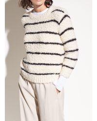Vince - Fuzzy Striped Cotton Bouclé Crew - Lyst
