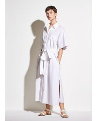 Vince Short Sleeve Utility Shirt Dress - White
