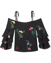 Vince Camuto - Garden Floral-print Ruffle-sleeve Top - Lyst