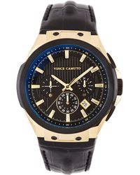 Vince Camuto - Black & Goldtone Croc Leather-band Subdial Watch - Lyst