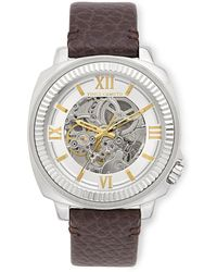 Vince Camuto - Exposed Automatic Leather Band Watch - Lyst