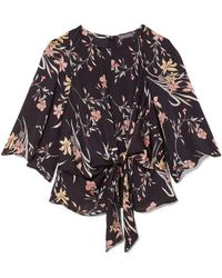 Vince Camuto - Floral-print Tie-waist Top - Lyst