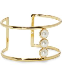 Vince Camuto - Faux Pearl T-bar Cuff - Lyst
