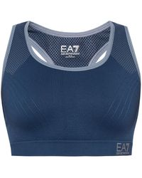 EA7 - Logo-embroidered Sports Bra - Lyst