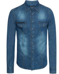 Philipp Plein - Denim Shirt With Snap Buttons - Lyst