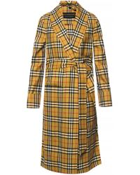 Burberry - Checked Gown Coat - Lyst