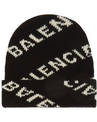33c2dd77 Balenciaga - Logo-jacquard Virgin Wool And Camel Hair-blend Beanie - Lyst