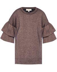 Michael Kors - Glittered Ruffled Sweater - Lyst