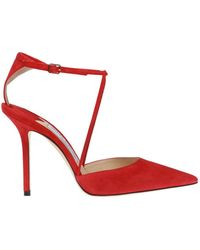 ba6381cb4ec Lyst - Jimmy Choo Lark Pumps With Ankle Strap in Red