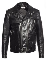 Saint Laurent - Leather Biker Jacket - Lyst