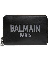 Balmain - Clutch Bag With A Logo - Lyst