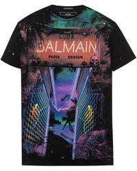 Balmain - 'cuba' Print T-shirt - Lyst